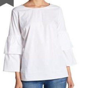 Como Vintage Double Ruffle Sleeve Blouse - Size L